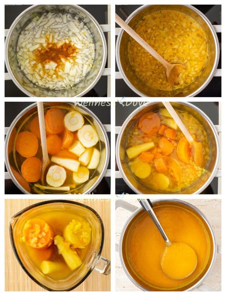 making steps of a parsnip vegan soup