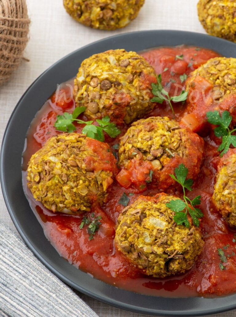 The vegan meatballs in a plate, 3/4 front angle