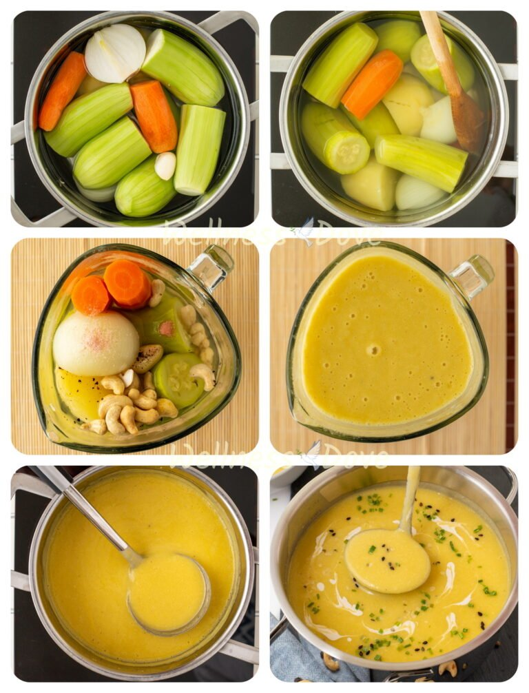 Making of the zucchini soup in steps