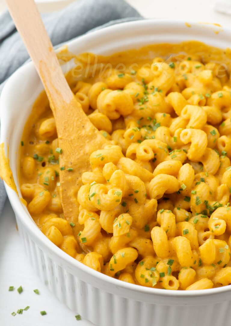 a close up of a casserole full of vegan mac and cheese