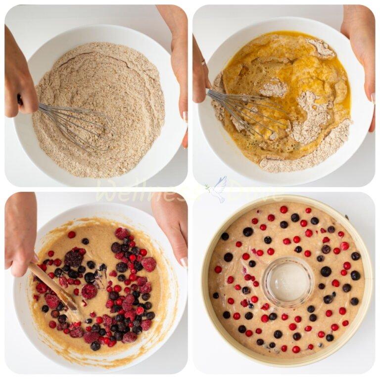 making of the vegan berry bundt cake