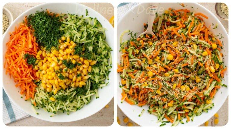 making and mixing the vegan salad