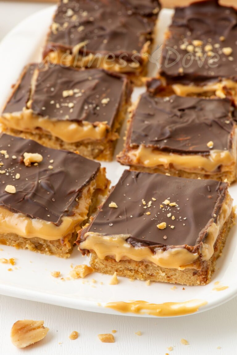 vegan peanut butter bars, front view, on a plate