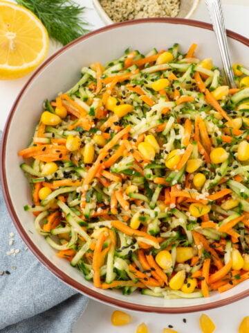 juicy cucumber carrot vegan salad