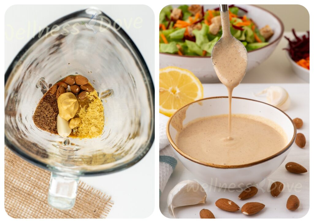 collage of how to make no oil salad dressing