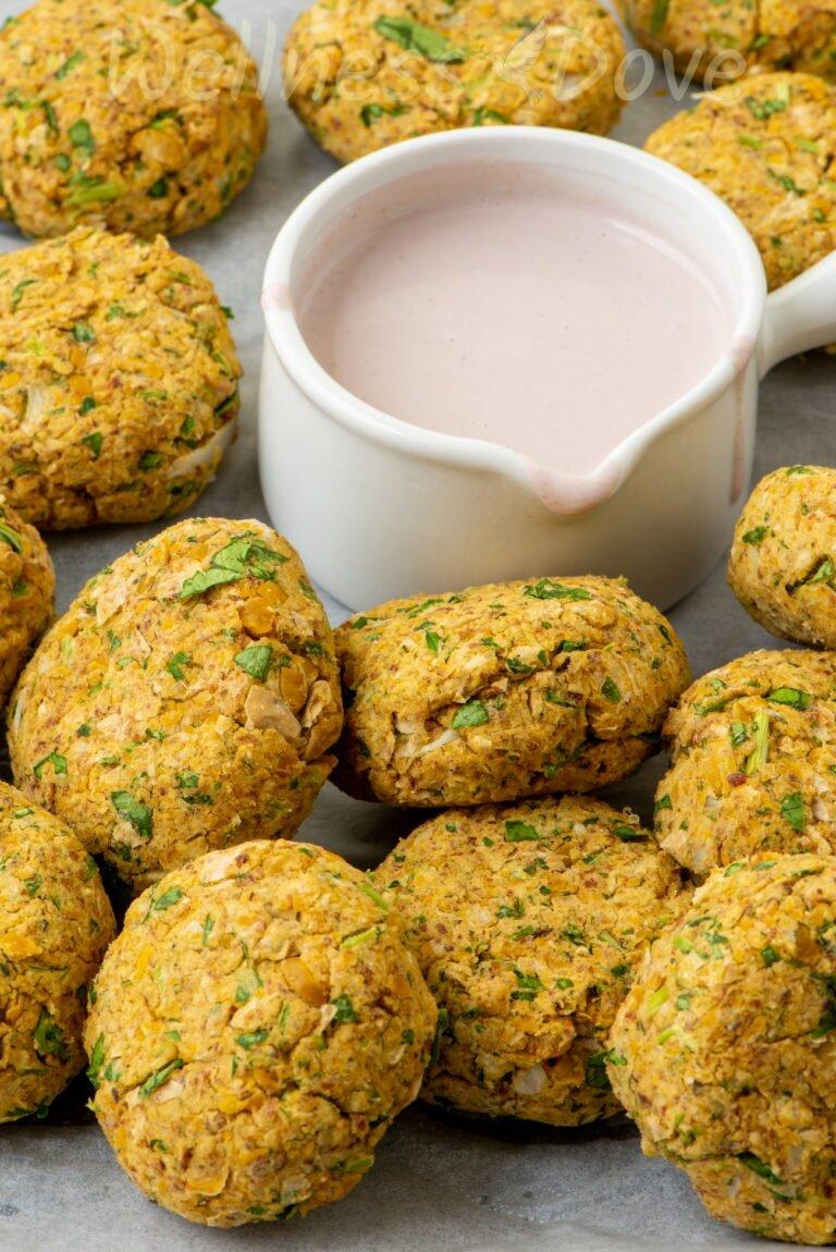 a close up of vegan falafels