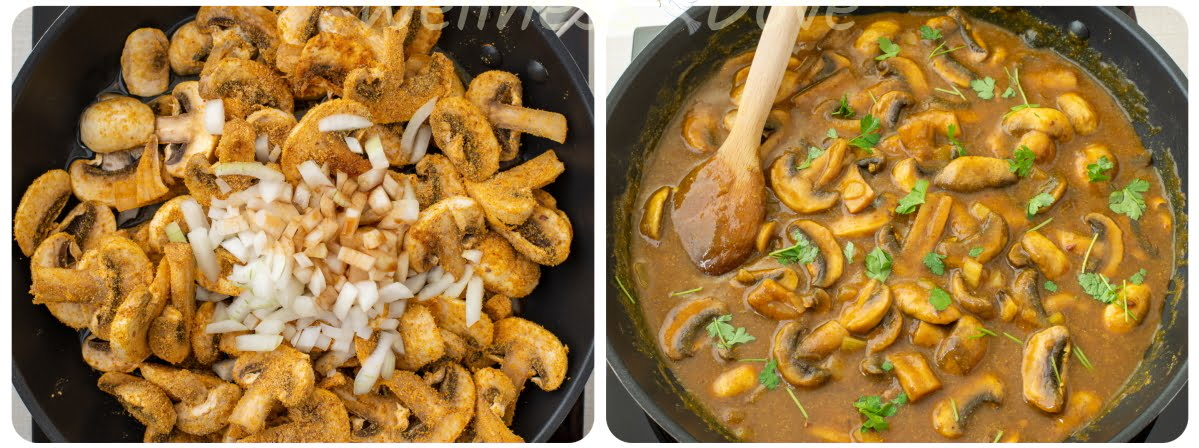 cooking the curry mushrooms
