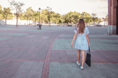 Woman walking in town