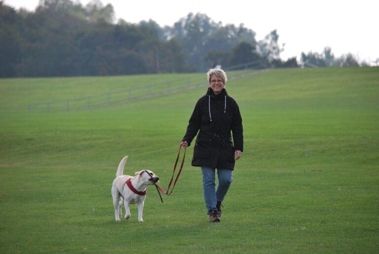 A woman walking her dog in a field.