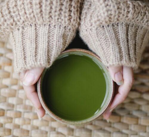 a cup of green tea