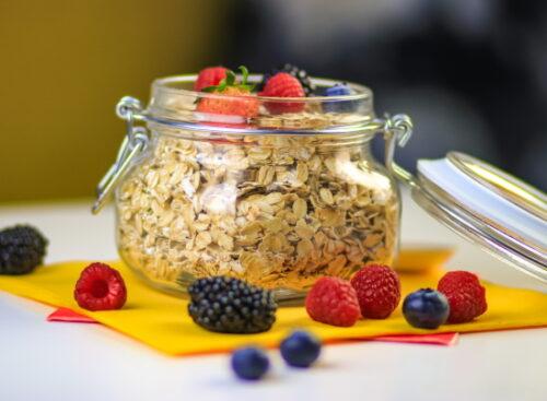 oats in a glass jar